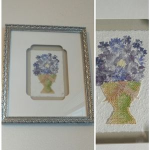 Pressed Flowers Art Signed Silver Tone Fra…